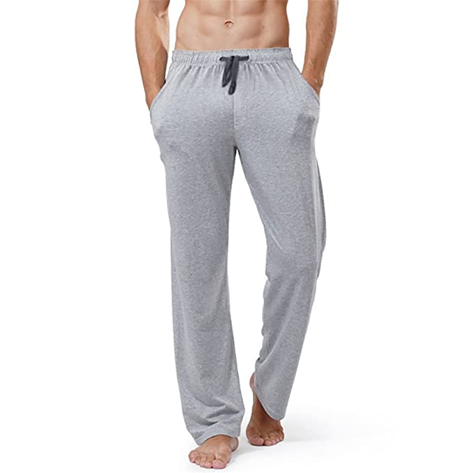 XIANGYANG Mens Cotton Sleep Bottoms String Loose Pijamas Pants Breathable Lounge Pants at Amazon Mens Clothing store: