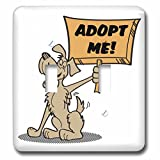 3dRose lsp_117503_2 Retro Style Cartoon Dog Holding Adopt Me Sign Pet Adoption Cartoon - Double Toggle Switch