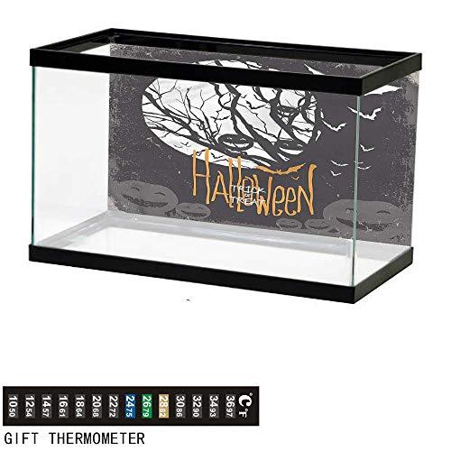 Suchashome Fish Tank Backdrop Vintage Halloween,Full Moon Trees,Aquarium Background,48