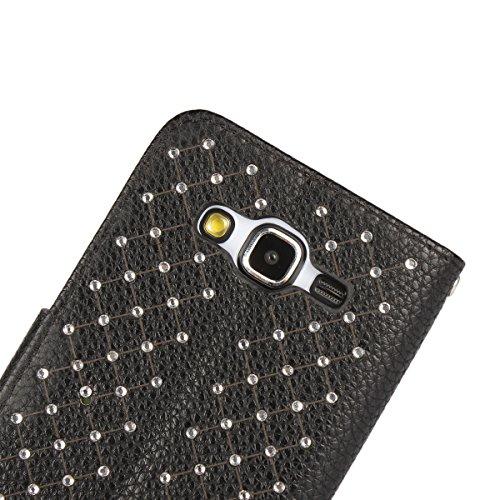 Funda Samsung Galaxy J5 (2015 edicion) Sunroyal ® [Cierre Magnético] Bookstyle para Samsung Galaxy J5 SM-J500F (2015 edicion) Funda Ultra Slim PU Cuero Flip Stand Feature Rosa Caso Leather Wallet Cásc T-01