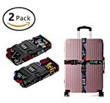 GXTEAY 2 Pcs Luggage Straps Suitcase Belts I Love My Dog Travel Accessories Bag Straps