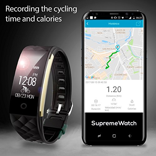 Heart Rate Monitor Fitness Tracker Smart Watch Waterproof Wristband Band Black with Pedometer GPS Movement Trajectory Distance Time Pace Calorie Historical Records