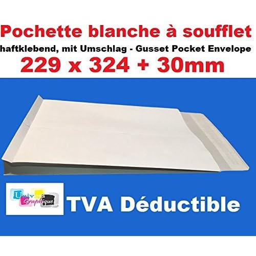 Lot de 25 enveloppe - pochette BLANCHE a soufflet C4 229 X 324 + 30 MM papier kraft blanc 120g fermeture bande adhésive autocollante siliconée - sac a soufflet grande contenance fond renforcé