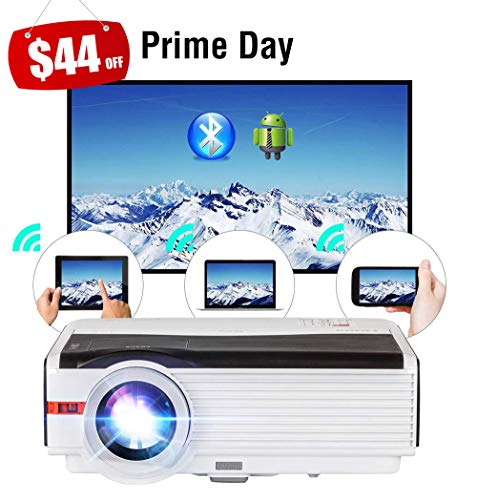 (WiFi Projector Wireless Bluetooth HDMI 5000 Lumens HD 1080P Home Theater Wireless Airplay Screen Mirror, 2019 Android 6.0 LED LCD Multimedia Smart TV Video Projectors Outdoor Movie Gaming Proyector)