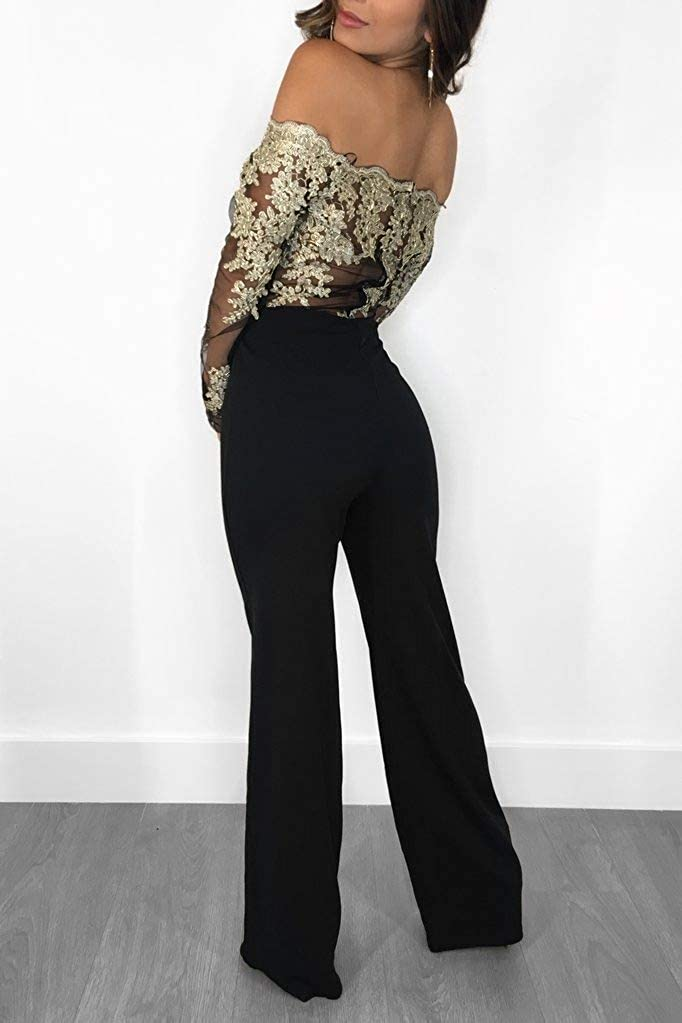 Coolred-Women Rompers Long Sleeve Wide Leg Off Shoulder Elegant Jumpsuit