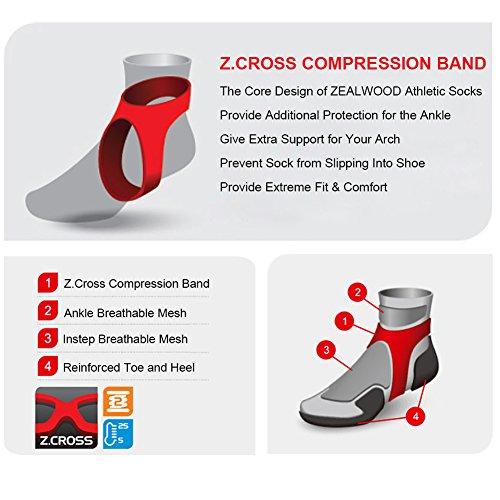Running Socks, ZEALWOOD Merino Wool Low Cut Cycling Socks for Men and Women,Women Christmas Gifts Christmas Socks Unisex Breathable Sport Socks-Blue/White,Small, 3 Pairs by ZEALWOOD (Image #3)