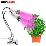 Buyleds LED Grow Light, Duel Head Grow Lights for Indoor Plants with Red/Blue Spectrum, Adjustable Gooseneck with UV&IR for Indoor Greenhouse Garden Vegetable Flower and Plants (Dual Head Grow Lights)