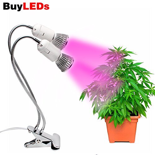 Buyleds LED Grow Light, Duel Head Grow Lights for Indoor Plants with Red/Blue Spectrum, Adjustable Gooseneck with UV&IR for Indoor Greenhouse Garden Vegetable Flower and Plants (Dual Head Grow Lights) by GreenSun