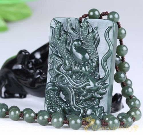 (100% Chinese Hand-Carved Green Natural Hetian Jade Dragon Lucky Pendant Necklace)