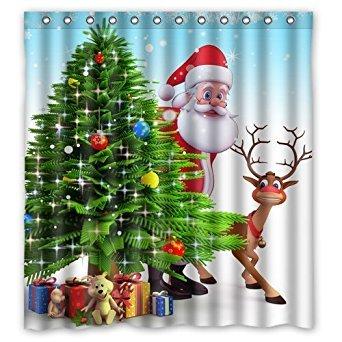 Christmas Tree Reindeer Custom Waterproof Shower Curtain Bathroom Curtains 66x72 inches