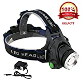 #1: KOLPCTT Rechargeable Headlamp LED, 3 Modes Headlight, T6 Flashlight Headlamp, Battery Powered Helmet Light for Camping, Running, Outdoor fishing,hiking and reading, present a charger