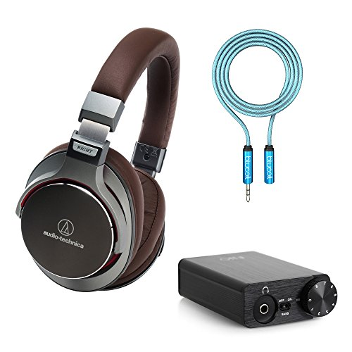 Audio-Technica ATH-MSR7GM SonicPro Over-Ear Hi-Res Headphones, Gunmetal -Includes- FiiO E10K USB DAC Headphone Amplifier and Blucoil 6-Ft Earphone Extension Cable