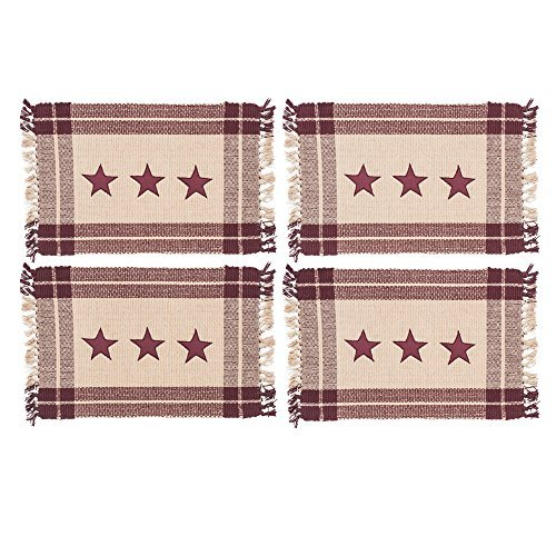 (Burgundy Simply Stars Plaid Border 13 x 19 Woven Cotton and Tassel Placemats Set of 4)
