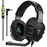 PS4 Gaming Headset,Supsoo G811 3.5mm Wired Over Ear Gaming Headphones with Microphone Flexible Noise Cancelling Volume Control for PC/Mac/PS4/New Xbox One/Table/Phone,Mat Black