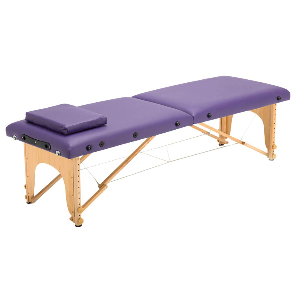 Massage table, portable professional massage table - light 16 kg - light - 3-part-Bed cover square pillow/various colors WXXJB-purple-70cm by WXXJB
