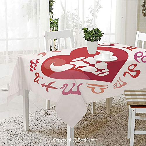 (Spring and Easter Dinner Tablecloth,Kitchen Table Decoration,Taurus,Zodiac Sign Bull Personality Western Astrology Human Character Mystic Print Decorative,Dark Coral White,59 x 83 inches)