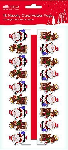 18 x Wooden Novelty Santa & Reindeer Christmas Card Holder Pegs & 2 Metres of Ribbon by Giftmaker Collection Anker International