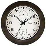 La Crosse Technology Equity 29005 Outdoor Thermometer and Humidity Wall Clock, 10-Inch, Brown