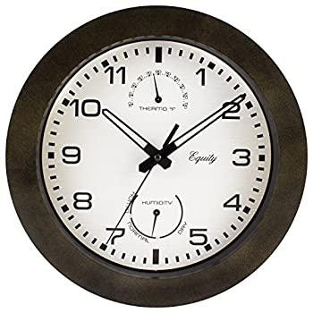 """Equity by La Crosse 29005 Outdoor Thermometer and Humidity Wall Clock, 10"""", Brown"""
