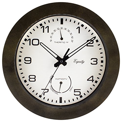 "Equity by La Crosse 29005 Outdoor Thermometer and Humidity Wall Clock, 10"", Brown"