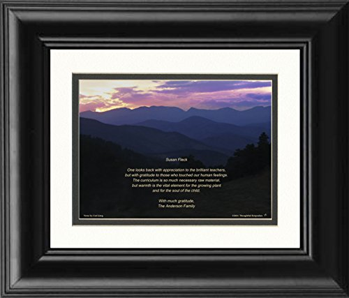 Framed Gift for Teacher Personalized, Mts Sunset Photo, with