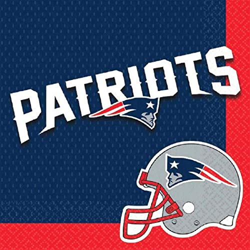 New England Patriots NFL Pro Football Sports Banquet Paper Beverage Napkins Football Game Day Sports Themed College University Party Supply NFL Napkins Beverage for 20 Red Blue Napkins