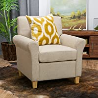 Denise Austin Home Siracusa Natural Fabric Club Chair
