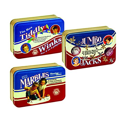 Channel Craft Classic Toy Tin Series - Jumbo Jacks, Marbles, and Tiddly Winks