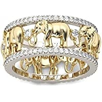 Fashion Cute 925 Silver White Sapphire Elephant pattern Ring Party Gift Jewelry (9)