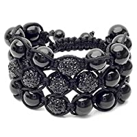 3 Row Beaded Bracelet Pave Unisex Hip Hop 12.5MM 6 Black Crystal Beads In Cross Design & Disco Adjustable