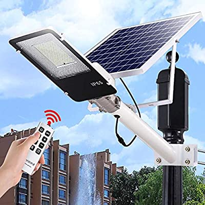 SZYOUMY Solar Street Light Outdoor, LED Flood Lights Lamp with Remote Control Timing Dusk to Dawn Security Lighting for Yard, Garden, Gutter, Pathway, Basketball Court