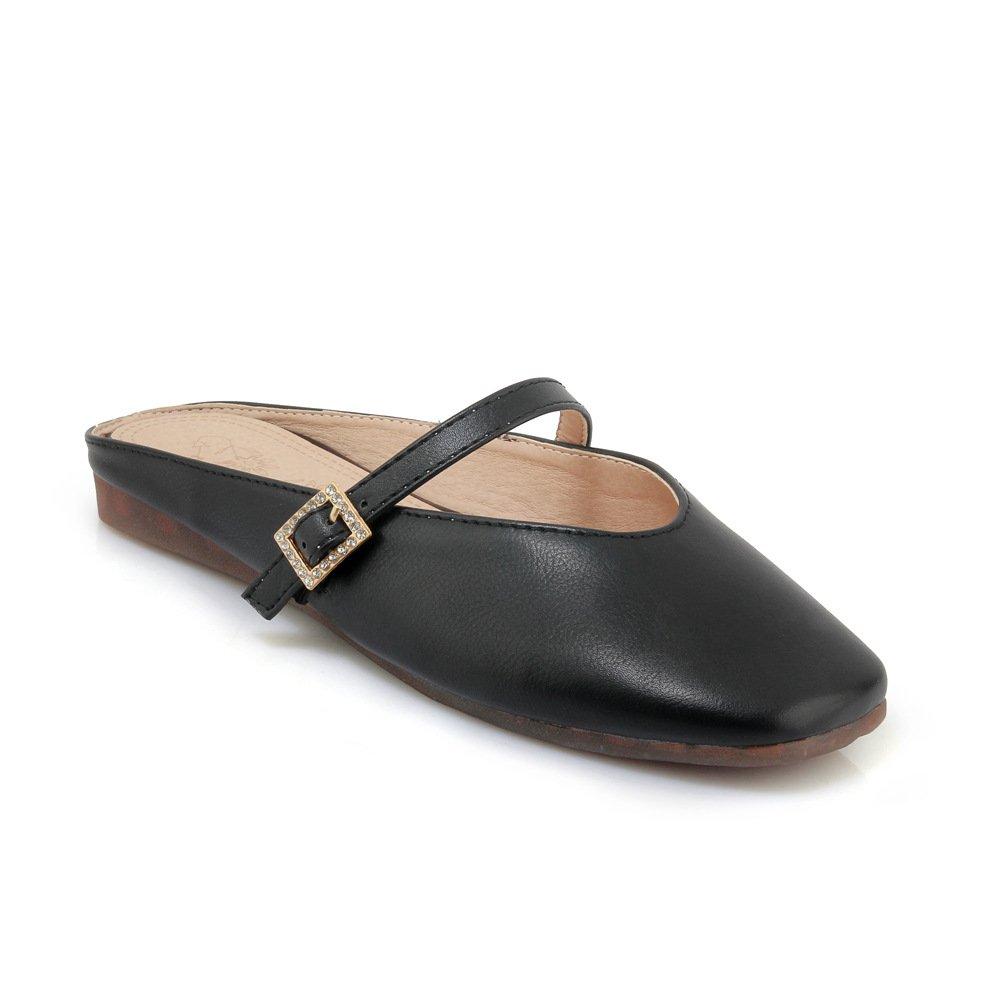 Unbekannt Sandalen Sandalen Sandalen Damen Vintage Quadratischen Kopf Gürtelschnalle Flach Groß Flip Flop Schwarz 42 7bea65