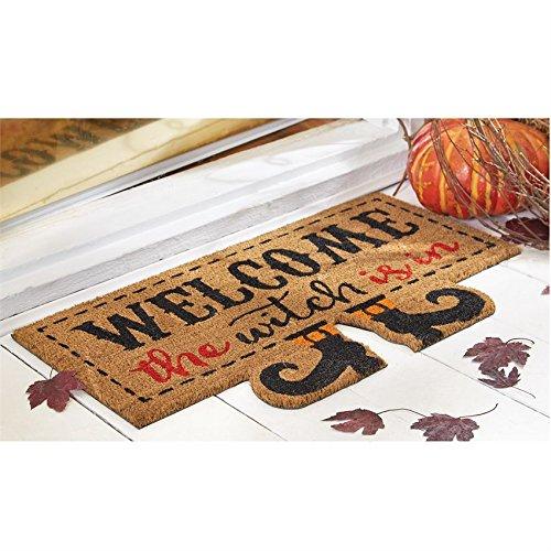 Mud Pie Halloween Home Garden Decor Floor Door Mat Witch Is (Whimsical Figural)