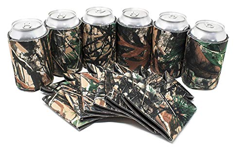 Tahoebay Can Sleeves for Standard 12 Ounce Cans Blank Poly Foam Beer Coolies (Camo, 12)]()