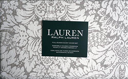 Lauren Ralph Lauren Bedding 3 Piece Duvet Cover Set White Floral Medallion Pattern on Gray (Full / Queen)](Ralph Lauren Linens)