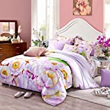 SAYM Home Bedding Sets Modern Fashion 3D Effect Digital Print Tencel The Big Version Print Flower Set For Lovely Princess Teen Girls, Lady, Duvet Cover & Flat sheet & Pillow Case,4 Pieces,Queen Size