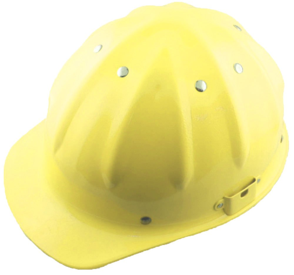 Hawk Adult Size Yellow Aluminum Safety Hat W/front Bill and Adjustable Liner: SF-79202