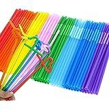 Tomnk 300PCS 10.3 Inch Disposable Flexible Drinking Straws Plastic Straws