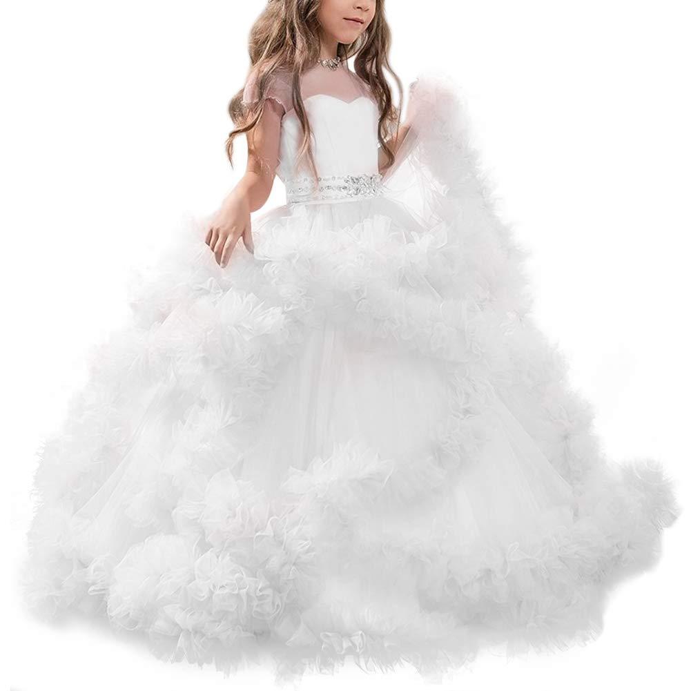 TTYAOVO Vestito da Ragazza Festa da Damigella dOnore da Principessa Damigella Abiti da Sposa Fiori di Bowknot