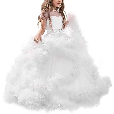4647e44ea8cf2 Vestito Principessa per Ragazza Elegante Floreale Fiore Tulle Abiti da Sera  Matrimonio Damigella d Onore Lungo Festa Donna Sposa Comunione Cerimonia ...