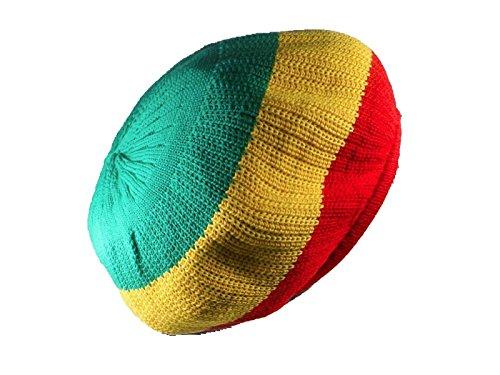 Red, Yellow, Green Rasta Dread Tam Cap Hat Crown Beret Beanie Knit Chrochet (Rasta Beret)
