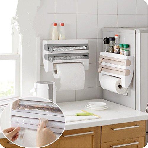 (SOURBAN Kitchen Cling Film Sauce Bottle Storage Rack Paper Towel Holder Kitchen Tool Gray Blue )