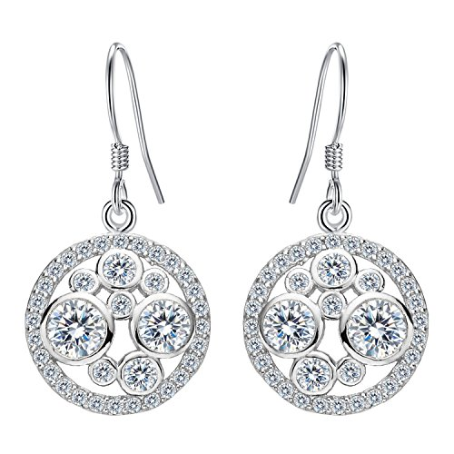 EleQueen 925 Sterling Silver Full Clear Cubic Zirconia Round Bridal Dangle French Hook Earrings