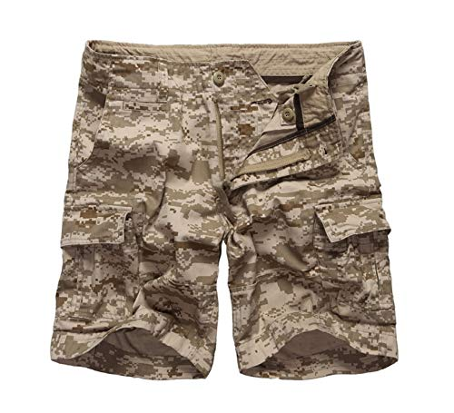(Mens Army Military Camouflage Cargo Shorts Multi-Pockets Shorts Waist,Desert Digital Camo,34)