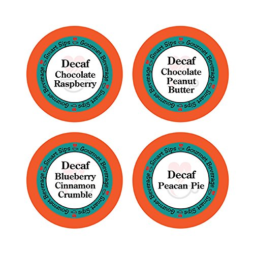 Decaffeinated Flavored Coffee Variety Sampler Pack, Keurig K-cup Compatible, 24 Count, Decaf Chocolate Peanut Butter, Decaf Blueberry Cinnamon Crumble, Decaf Pecan Pie, Decaf Chocolate Raspberry (Coffee Raspberry Decaf)