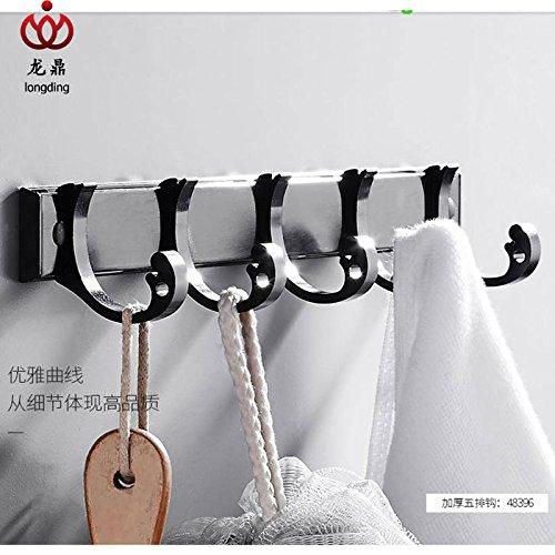Yomiokla Bathroom Accessories - Kitchen, Toilet, Balcony and Bathroom Metal Towel Ring Built-in Shelf Aluminum Mount, Built-in Shelf Black Coat Hook