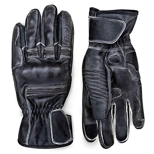 - Pre-Weathered Premium Leather Motorcycle Gloves (Black) Cool, Comfortable Riding Protection, Cafe Racer, Full Gauntlet with Mobile Touch Screen (XX-Large)