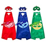 Fancy Dress Superhero Dress Up Costume With Capes Masks Bracelets For Children 3 Characters - Catboy, Gekko & Owlette