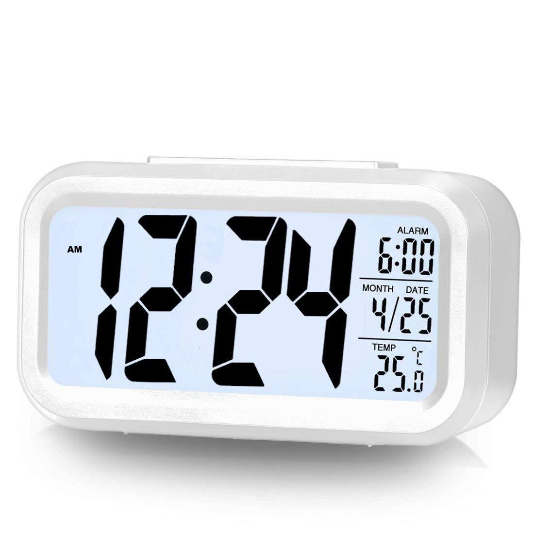 Eno Digita Alarm Clock Large LCD Display Temperature Date Snooze Night Light Alarm Clock