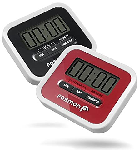 Digital Timer 2 Pack, Fosmon Large Digital LCD Screen Kitchen Timer Count Up/Down with Loud Alarm, Magnetic Back, Folding Stand & Clip (White/Red + - 30 White Clips